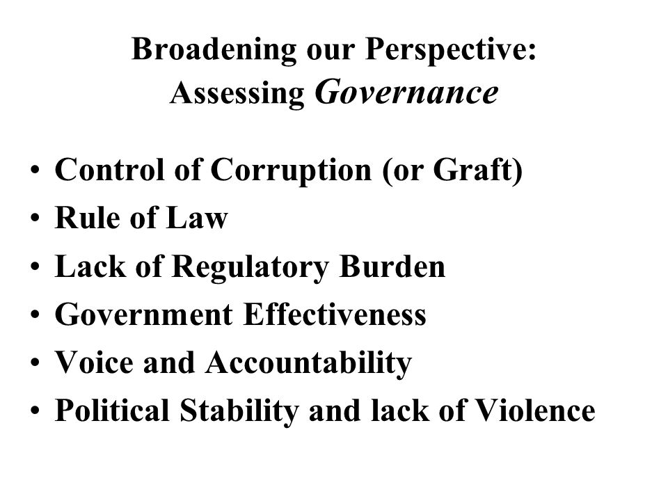 Governance and Controlling Corruption is Central for Socio-Economic Development and Growth: New Reports and Evidence Presentation by Daniel Kaufmann, The World Bank, on New Books and Research on Quality of Growth and Anticorrruption and State Capture in Transition ICPS Roundtable, Kyiv, November 6th, 2000