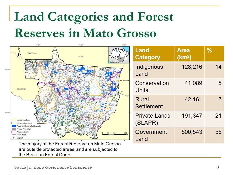 Land Categories and Forest Reserves in Mato Grosso Souza Jr., Land Governance Conference 3 Land Category Area (km 2 ) % Indigenous Land 128,21614 Conservation Units 41,0895 Rural Settlement 42,1615 Private Lands (SLAPR) 191,34721 Government Land 500,54355 The majory of the Forest Reserves in Mato Grosso are outside protected areas, and are subjected to the Brazilian Forest Code.