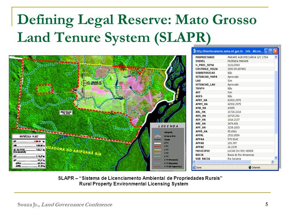 Souza Jr., Land Governance Conference 5 Defining Legal Reserve: Mato Grosso Land Tenure System (SLAPR) SLAPR – Sistema de Licenciamento Ambiental de P