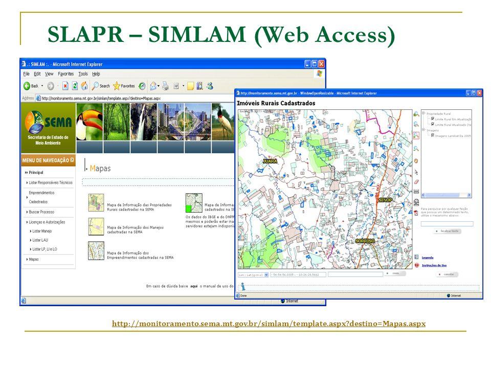 SLAPR – SIMLAM (Web Access) http://monitoramento.sema.mt.gov.br/simlam/template.aspx?destino=Mapas.aspx