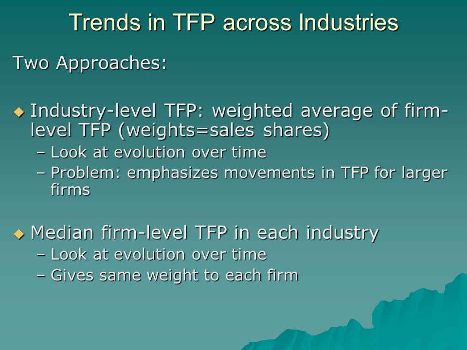 Trends in TFP across Industries Two Approaches: Industry-level TFP: weighted average of firm- level TFP (weights=sales shares) Industry-level TFP: weighted average of firm- level TFP (weights=sales shares) –Look at evolution over time –Problem: emphasizes movements in TFP for larger firms Median firm-level TFP in each industry Median firm-level TFP in each industry –Look at evolution over time –Gives same weight to each firm