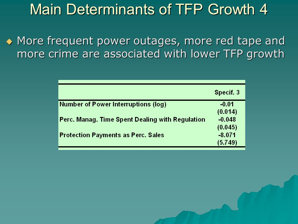 Main Determinants of TFP Growth 4 More frequent power outages, more red tape and more crime are associated with lower TFP growth More frequent power outages, more red tape and more crime are associated with lower TFP growth