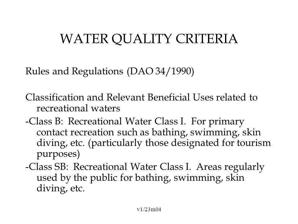 v1/23m04 WATER QUALITY CRITERIA Rules and Regulations (DAO 34/1990) Classification and Relevant Beneficial Uses related to recreational waters -Class B: Recreational Water Class I.