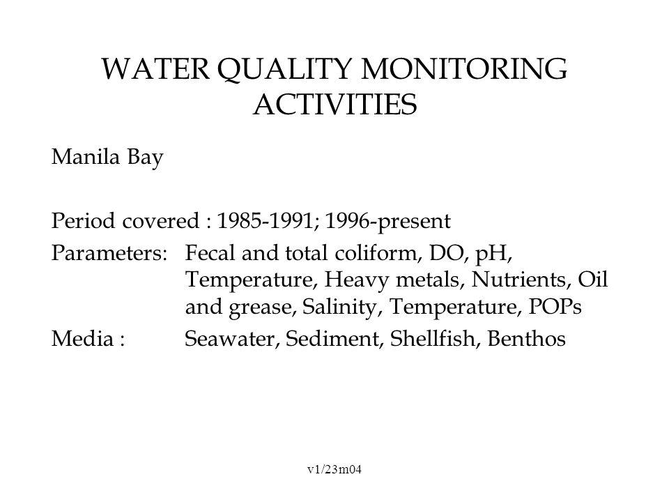 v1/23m04 WATER QUALITY MONITORING ACTIVITIES Manila Bay Period covered : 1985-1991; 1996-present Parameters:Fecal and total coliform, DO, pH, Temperature, Heavy metals, Nutrients, Oil and grease, Salinity, Temperature, POPs Media : Seawater, Sediment, Shellfish, Benthos