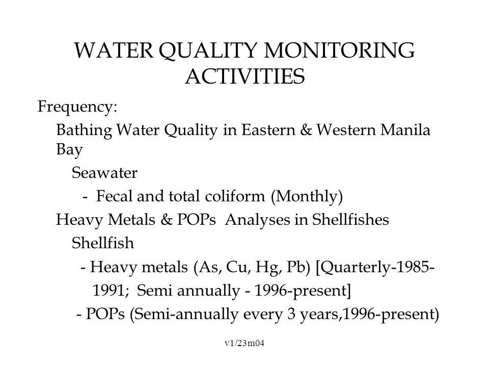 v1/23m04 WATER QUALITY MONITORING ACTIVITIES Frequency: Bathing Water Quality in Eastern & Western Manila Bay Seawater - Fecal and total coliform (Monthly) Heavy Metals & POPs Analyses in Shellfishes Shellfish - Heavy metals (As, Cu, Hg, Pb) [Quarterly-1985- 1991; Semi annually - 1996-present] - POPs (Semi-annually every 3 years,1996-present)