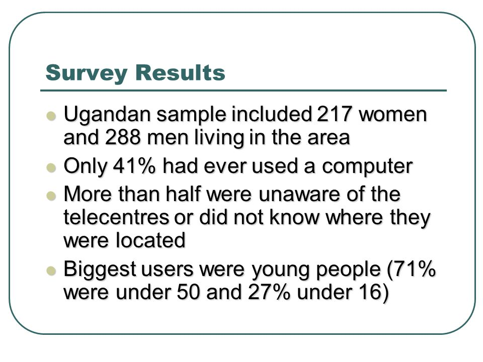 Survey Results Ugandan sample included 217 women and 288 men living in the area Ugandan sample included 217 women and 288 men living in the area Only 41% had ever used a computer Only 41% had ever used a computer More than half were unaware of the telecentres or did not know where they were located More than half were unaware of the telecentres or did not know where they were located Biggest users were young people (71% were under 50 and 27% under 16) Biggest users were young people (71% were under 50 and 27% under 16)