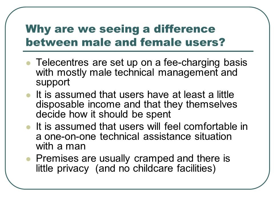 Why are we seeing a difference between male and female users.