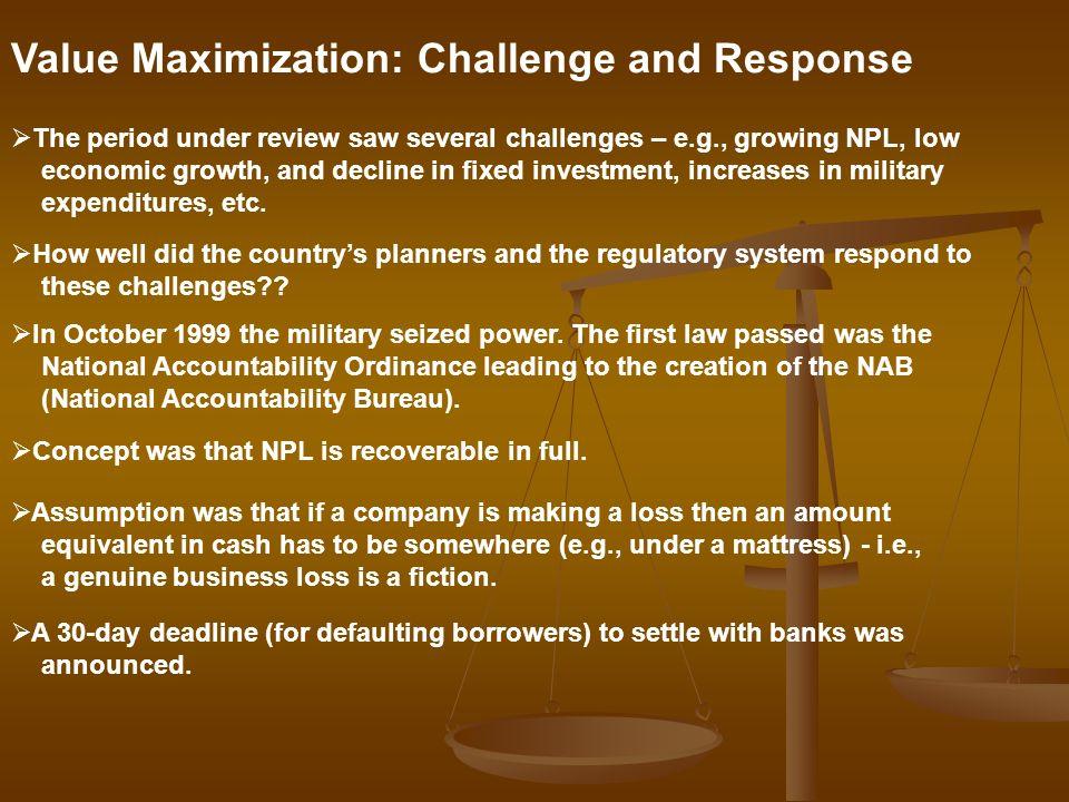 Value Maximization: Challenge and Response The period under review saw several challenges – e.g., growing NPL, low economic growth, and decline in fix