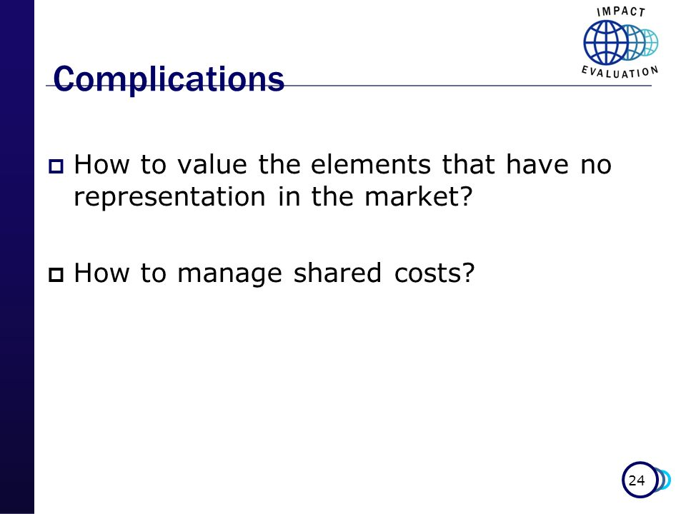 24 Complications How to value the elements that have no representation in the market? How to manage shared costs?