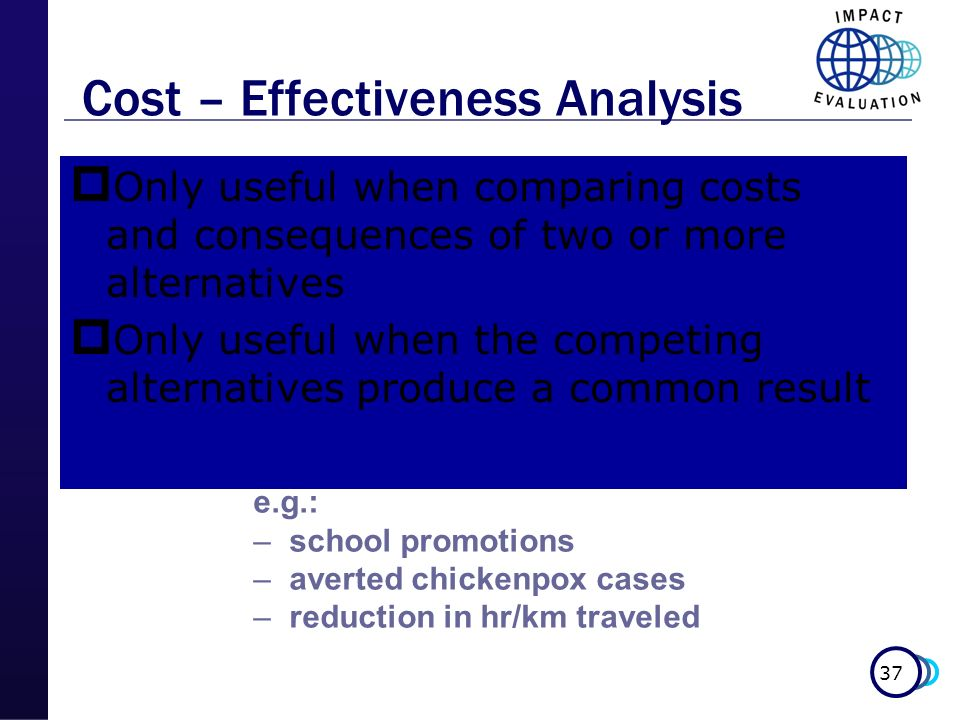 37 Cost – Effectiveness Analysis Only useful when comparing costs and consequences of two or more alternatives Only useful when the competing alternat