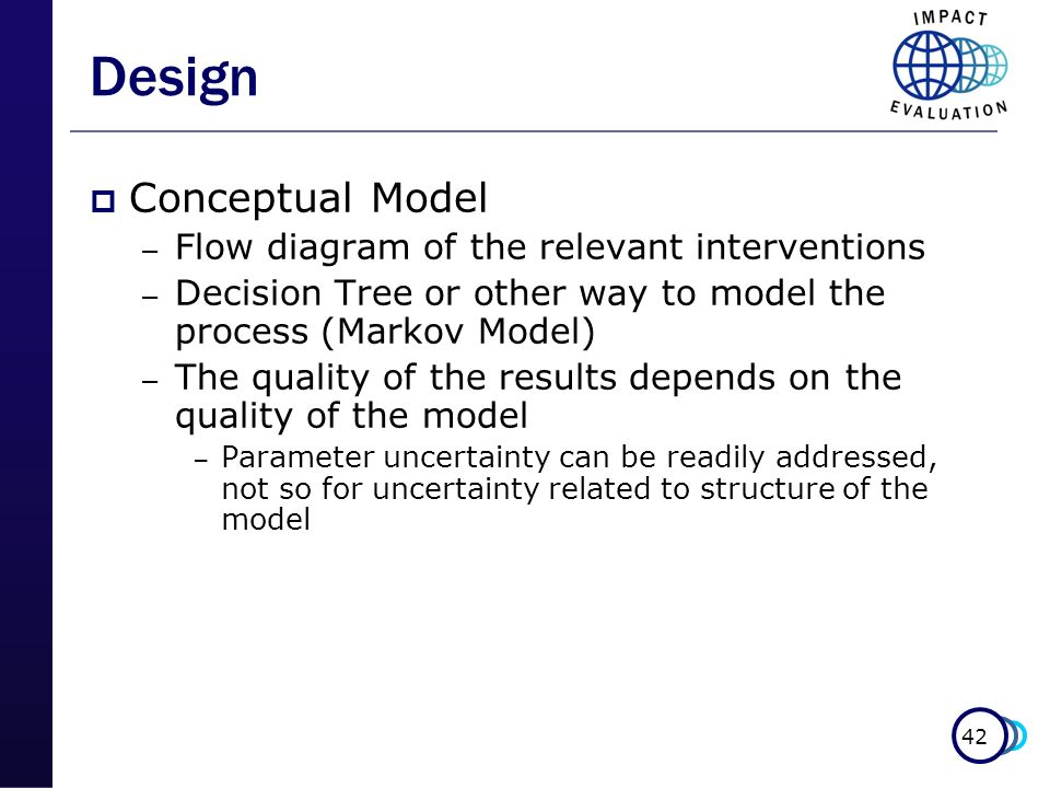 42 Design Conceptual Model – Flow diagram of the relevant interventions – Decision Tree or other way to model the process (Markov Model) – The quality