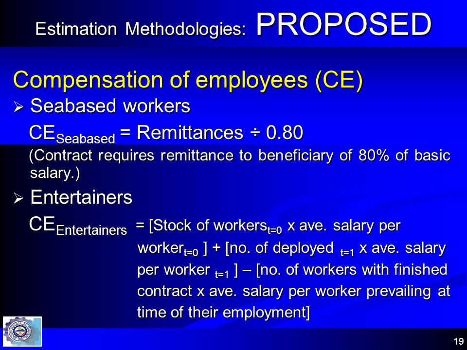 19 Estimation Methodologies: PROPOSED Compensation of employees (CE) Seabased workers Seabased workers CE Seabased = Remittances ÷ 0.80 CE Seabased =