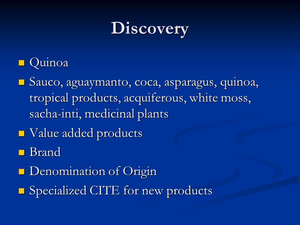 Discovery Quinoa Quinoa Sauco, aguaymanto, coca, asparagus, quinoa, tropical products, acquiferous, white moss, sacha-inti, medicinal plants Sauco, aguaymanto, coca, asparagus, quinoa, tropical products, acquiferous, white moss, sacha-inti, medicinal plants Value added products Value added products Brand Brand Denomination of Origin Denomination of Origin Specialized CITE for new products Specialized CITE for new products