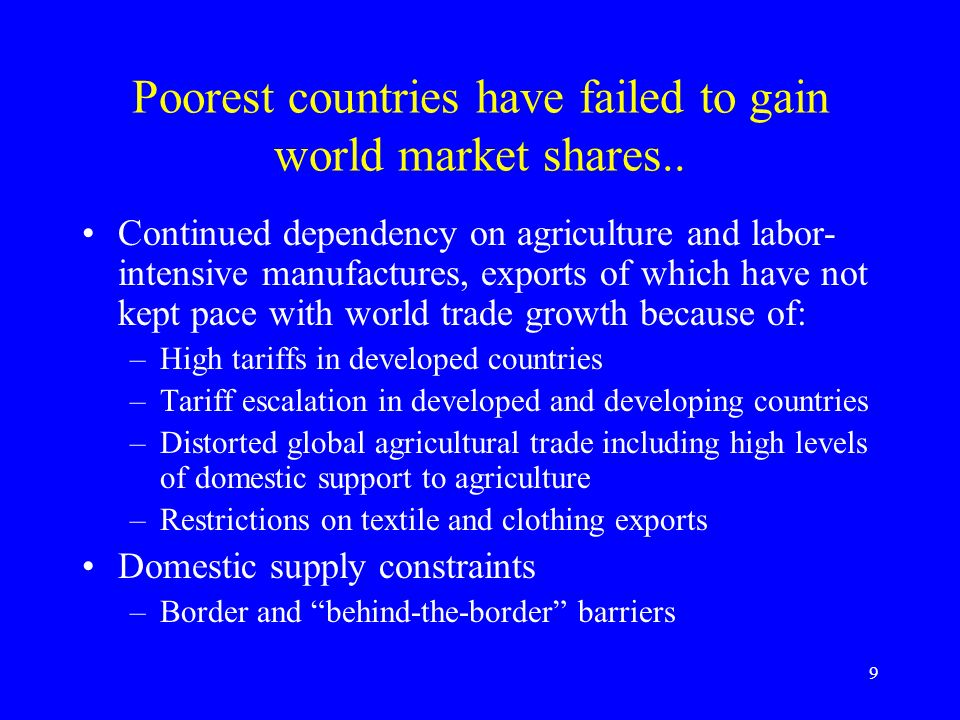 9 Poorest countries have failed to gain world market shares..
