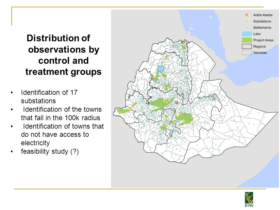 Distribution of observations by control and treatment groups Identification of 17 substations Identification of the towns that fall in the 100k radius