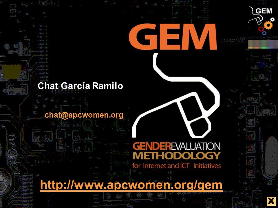 chat@apcwomen.org http://www.apcwomen.org/gem Chat García Ramilo X
