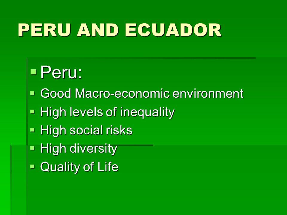 PERU AND ECUADOR Peru: Peru: Good Macro-economic environment Good Macro-economic environment High levels of inequality High levels of inequality High