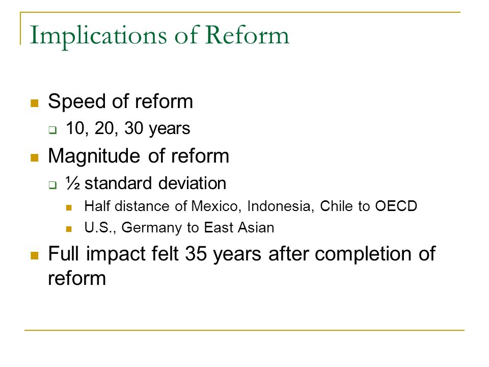 Implications of Reform Speed of reform 10, 20, 30 years Magnitude of reform ½ standard deviation Half distance of Mexico, Indonesia, Chile to OECD U.S