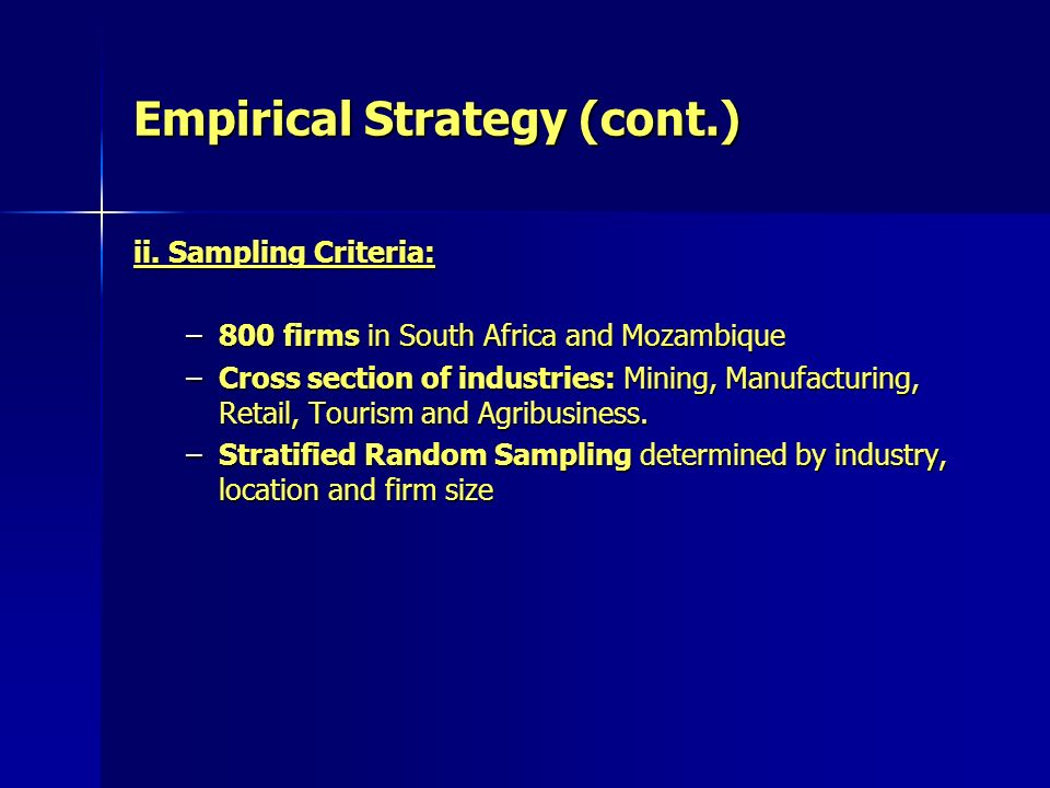Empirical Strategy (cont.) ii.