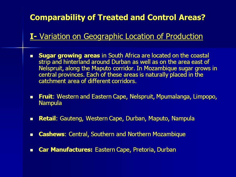 Comparability of Treated and Control Areas.