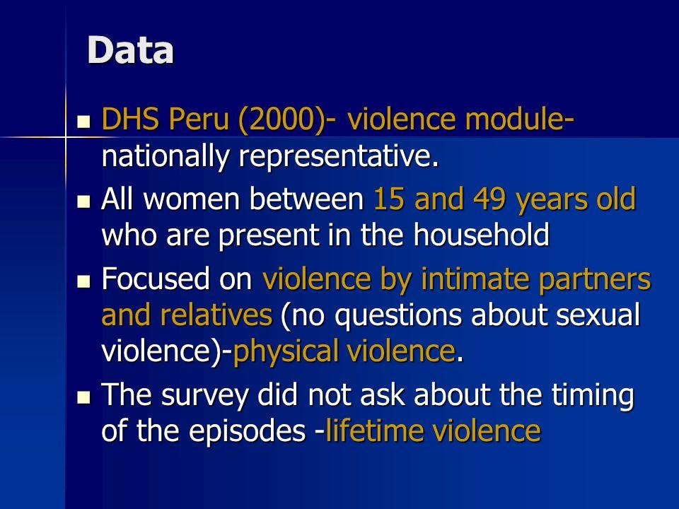 Data DHS Peru (2000)- violence module- nationally representative. DHS Peru (2000)- violence module- nationally representative. All women between 15 an