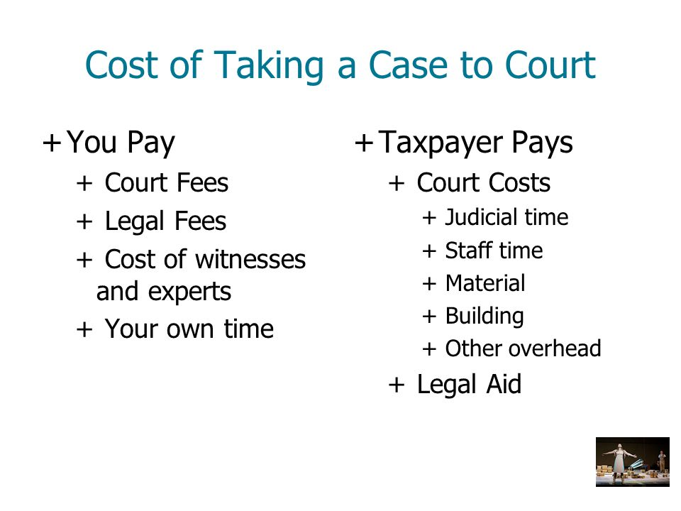 Cost of Taking a Case to Court +You Pay + Court Fees + Legal Fees + Cost of witnesses and experts + Your own time +Taxpayer Pays + Court Costs + Judic