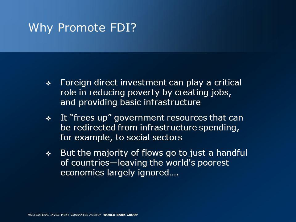 MULTILATERAL INVESTMENT GUARANTEE AGENCY WORLD BANK GROUP Why Promote FDI.
