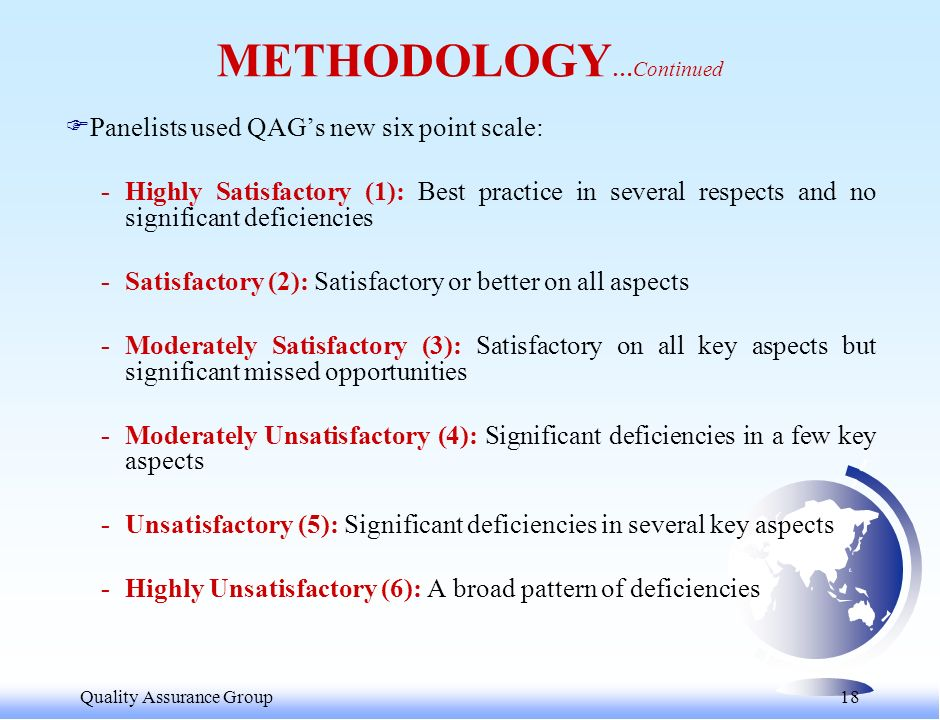 Quality Assurance Group 18 FPanelists used QAGs new six point scale: -Highly Satisfactory (1): Best practice in several respects and no significant deficiencies -Satisfactory (2): Satisfactory or better on all aspects -Moderately Satisfactory (3): Satisfactory on all key aspects but significant missed opportunities -Moderately Unsatisfactory (4): Significant deficiencies in a few key aspects -Unsatisfactory (5): Significant deficiencies in several key aspects -Highly Unsatisfactory (6): A broad pattern of deficiencies METHODOLOGY …Continued