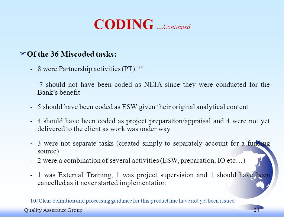 Quality Assurance Group 24 FOf the 36 Miscoded tasks: -8 were Partnership activities (PT) 10/ - 7 should not have been coded as NLTA since they were conducted for the Banks benefit -5 should have been coded as ESW given their original analytical content -4 should have been coded as project preparation/appraisal and 4 were not yet delivered to the client as work was under way -3 were not separate tasks (created simply to separately account for a funding source) -2 were a combination of several activities (ESW, preparation, IO etc…) -1 was External Training, 1 was project supervision and 1 should have been cancelled as it never started implementation 10/ Clear definition and processing guidance for this product line have not yet been issued CODING …Continued