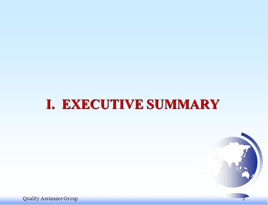 Quality Assurance Group 3 I. EXECUTIVE SUMMARY