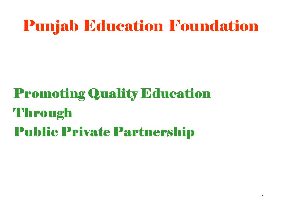 2 Promote quality education through Public- Private Partnership, encourage and support the efforts of the private sector through technical and financial assistance, innovate and develop new instruments and enable private educational institutions to champion wider and better quality educational opportunities at affordable cost to the poor Vision