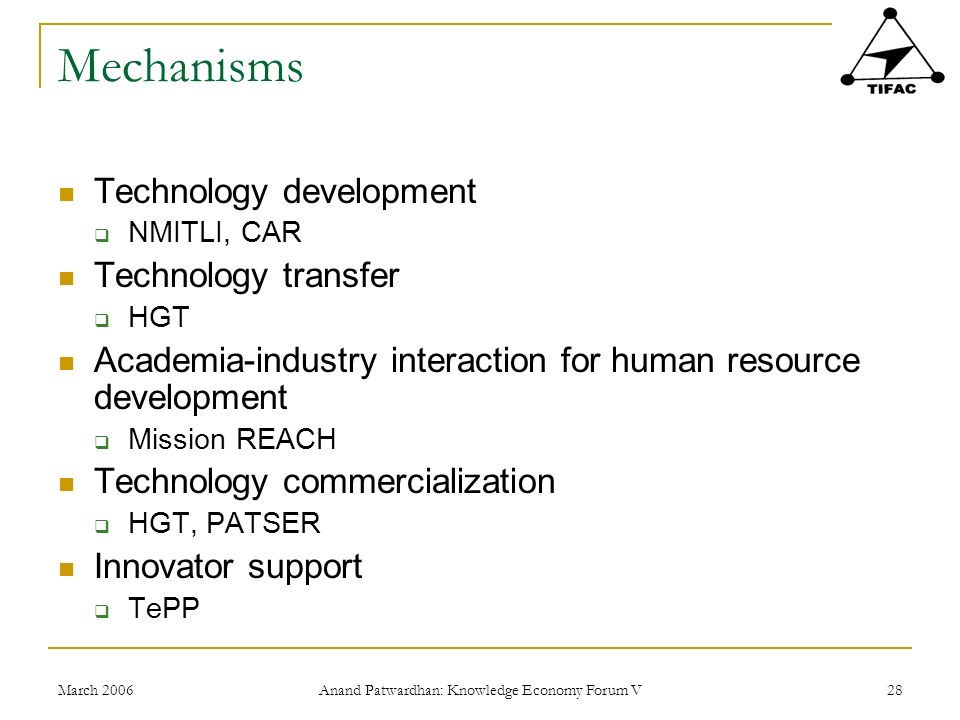 March 2006 Anand Patwardhan: Knowledge Economy Forum V 28 Mechanisms Technology development NMITLI, CAR Technology transfer HGT Academia-industry interaction for human resource development Mission REACH Technology commercialization HGT, PATSER Innovator support TePP