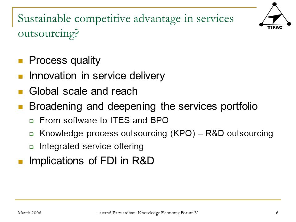 March 2006 Anand Patwardhan: Knowledge Economy Forum V 17 R&D in India by performing sector