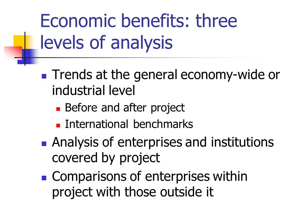 Economic benefits: three levels of analysis Trends at the general economy-wide or industrial level Before and after project International benchmarks A