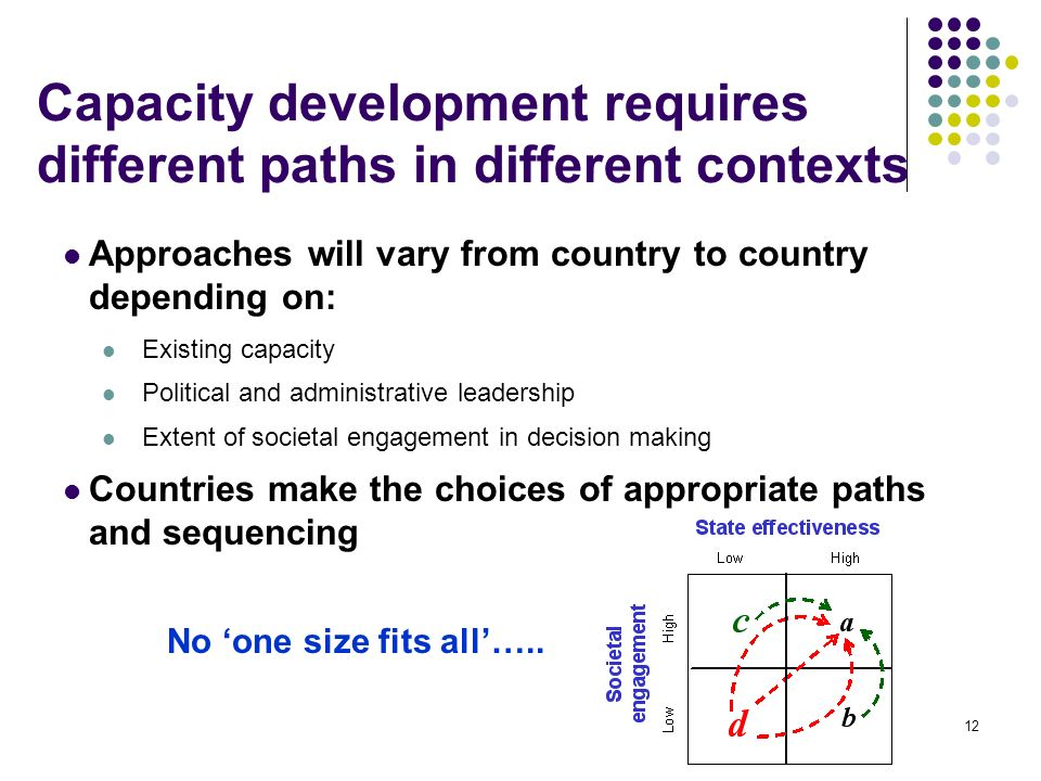 12 Capacity development requires different paths in different contexts Approaches will vary from country to country depending on: Existing capacity Political and administrative leadership Extent of societal engagement in decision making Countries make the choices of appropriate paths and sequencing No one size fits all…..