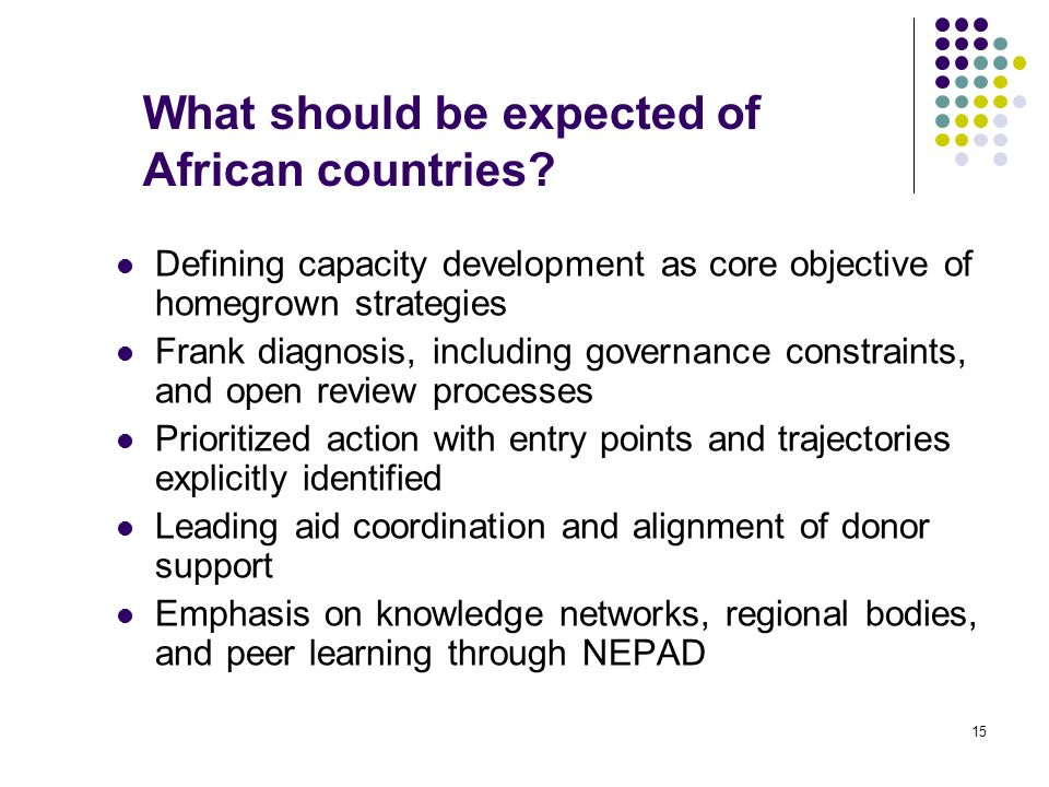 15 What should be expected of African countries? Defining capacity development as core objective of homegrown strategies Frank diagnosis, including go