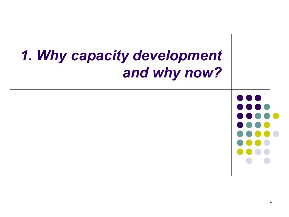 4 1. Why capacity development and why now