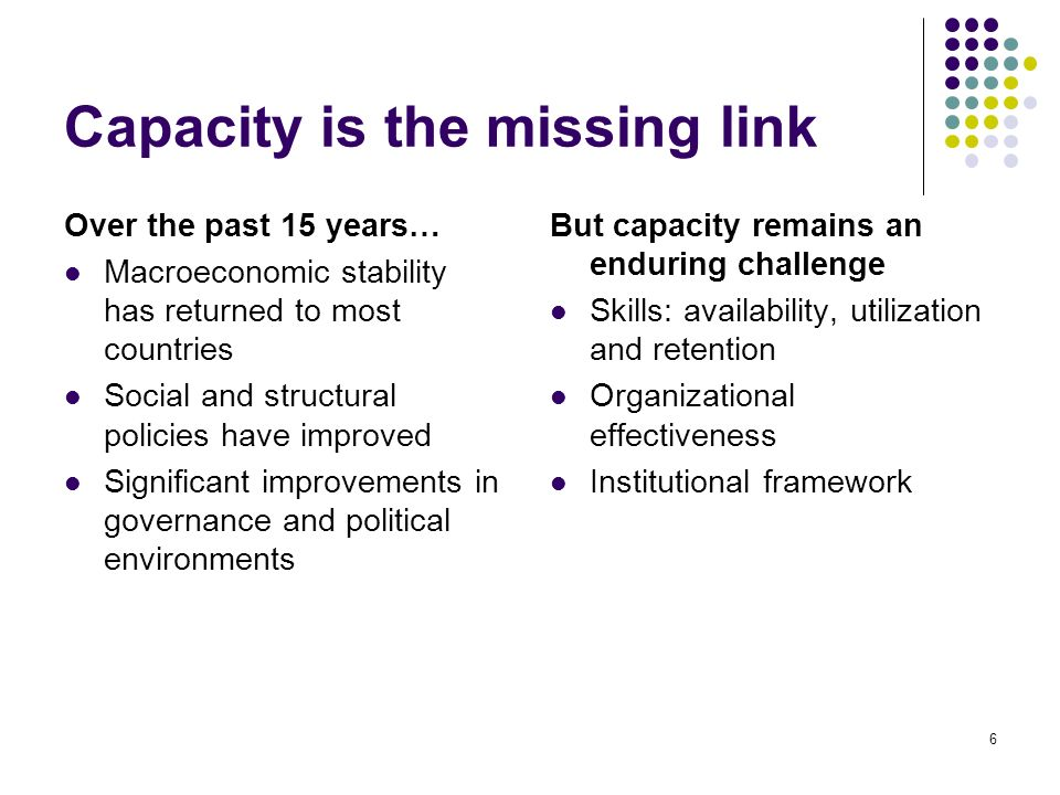 6 Capacity is the missing link Over the past 15 years… Macroeconomic stability has returned to most countries Social and structural policies have improved Significant improvements in governance and political environments But capacity remains an enduring challenge Skills: availability, utilization and retention Organizational effectiveness Institutional framework