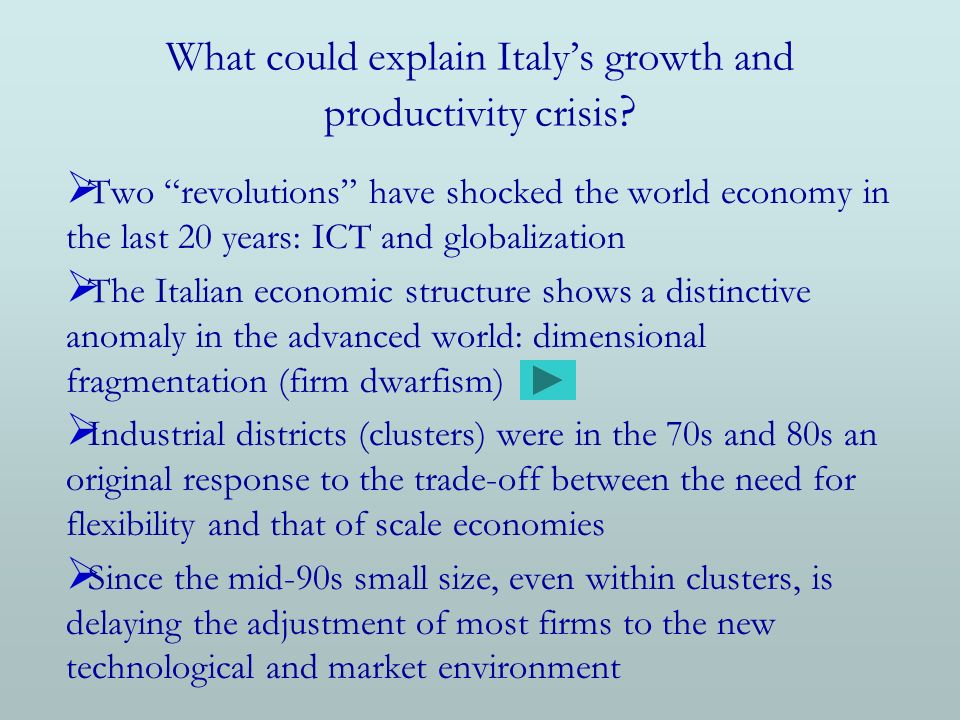 What could explain Italys growth and productivity crisis .