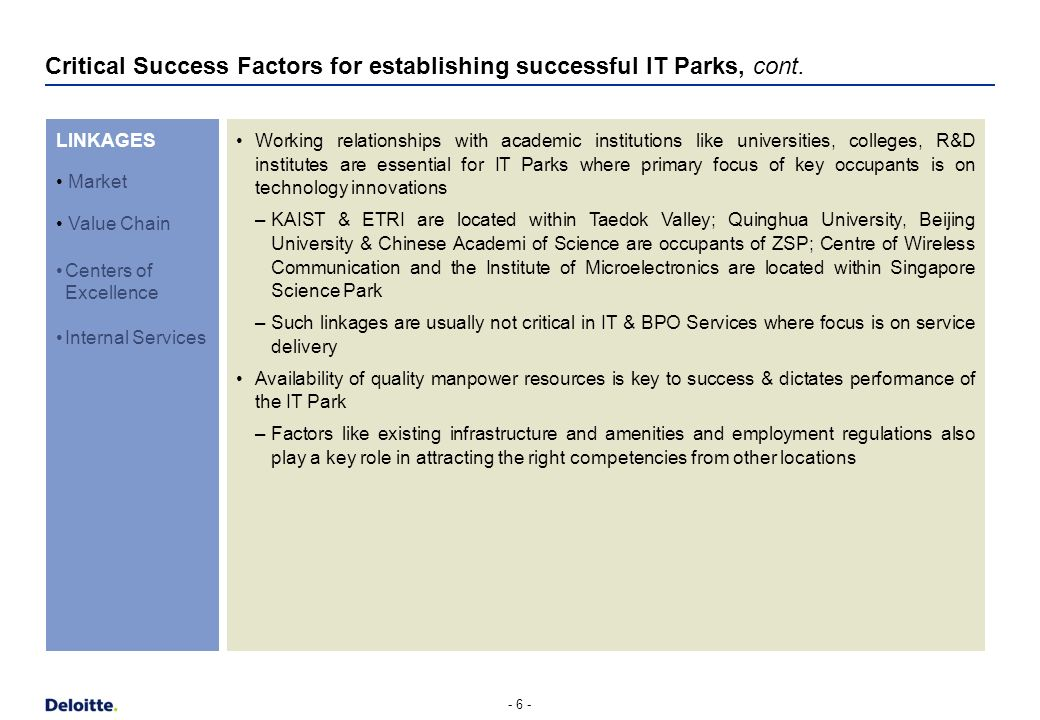 Critical Success Factors for establishing successful IT Parks, cont. - 5 - CAPITAL Hitec City, India IT Park-Hubli, India SSP, Singapore CFZ, Malaysia