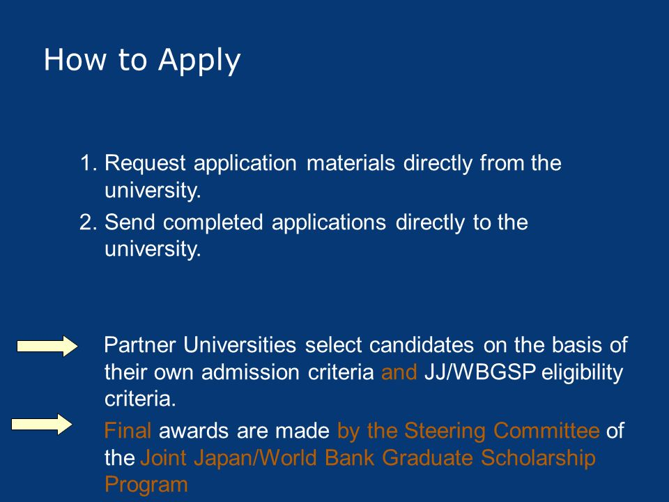 How to Apply 1.Request application materials directly from the university. 2.Send completed applications directly to the university. Partner Universit