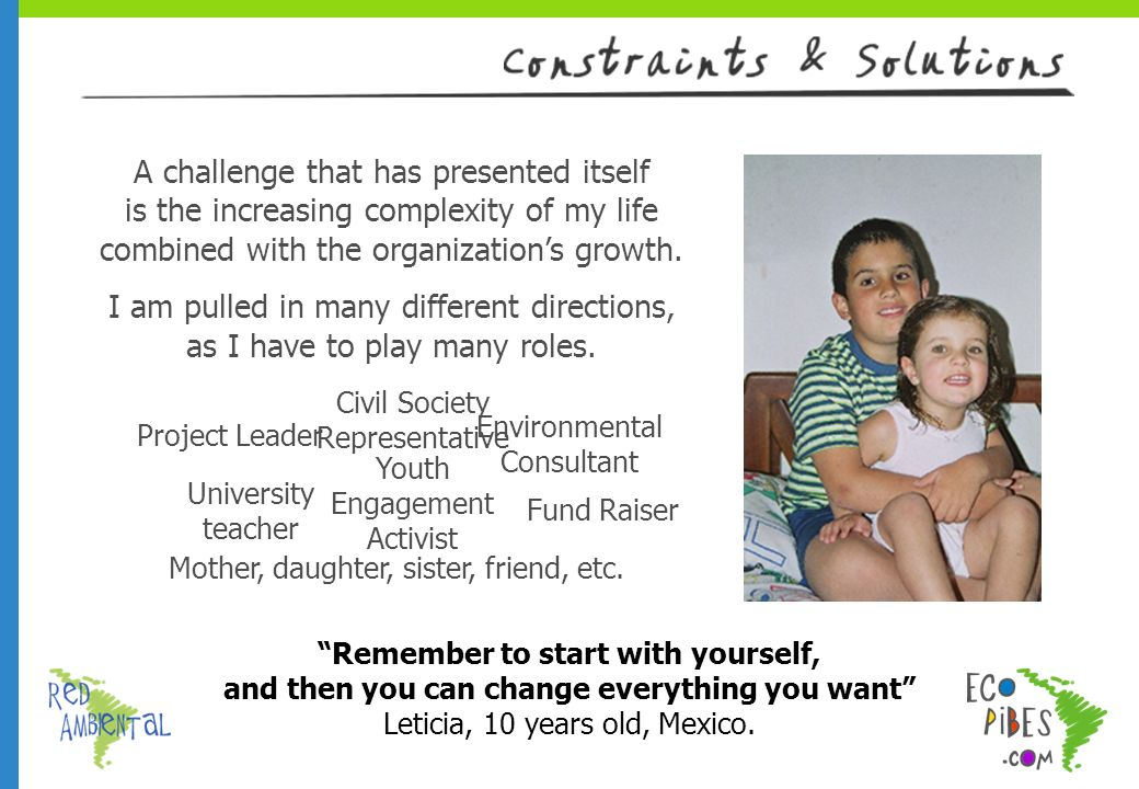Remember to start with yourself, and then you can change everything you want Leticia, 10 years old, Mexico.