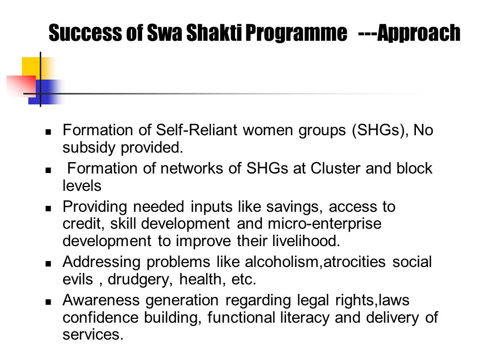 Success of Swa Shakti Programme ---Approach Formation of Self-Reliant women groups (SHGs), No subsidy provided. Formation of networks of SHGs at Clust