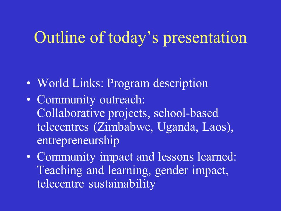 School computer labs Schools responsibility –Staffing –Recurrent costs: electricity, phone/Internet, consumables (e.g., paper.