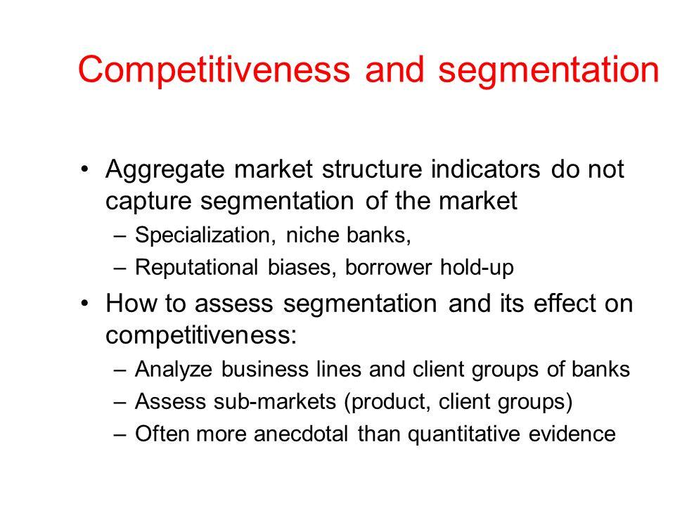 Competitiveness and segmentation Aggregate market structure indicators do not capture segmentation of the market –Specialization, niche banks, –Reputa