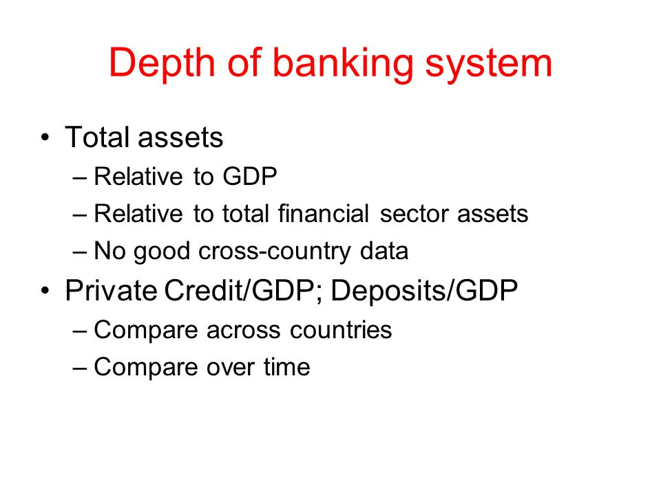 Depth of banking system Total assets –Relative to GDP –Relative to total financial sector assets –No good cross-country data Private Credit/GDP; Depos