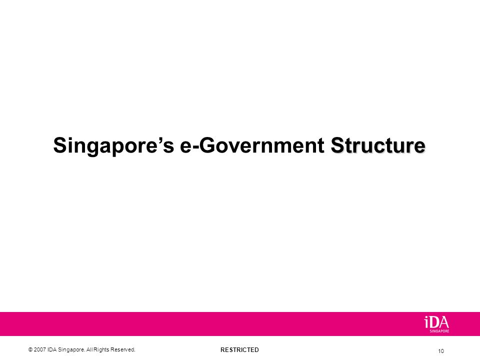 RESTRICTED © 2007 IDA Singapore. All Rights Reserved. 10 Structure Singapores e-Government Structure