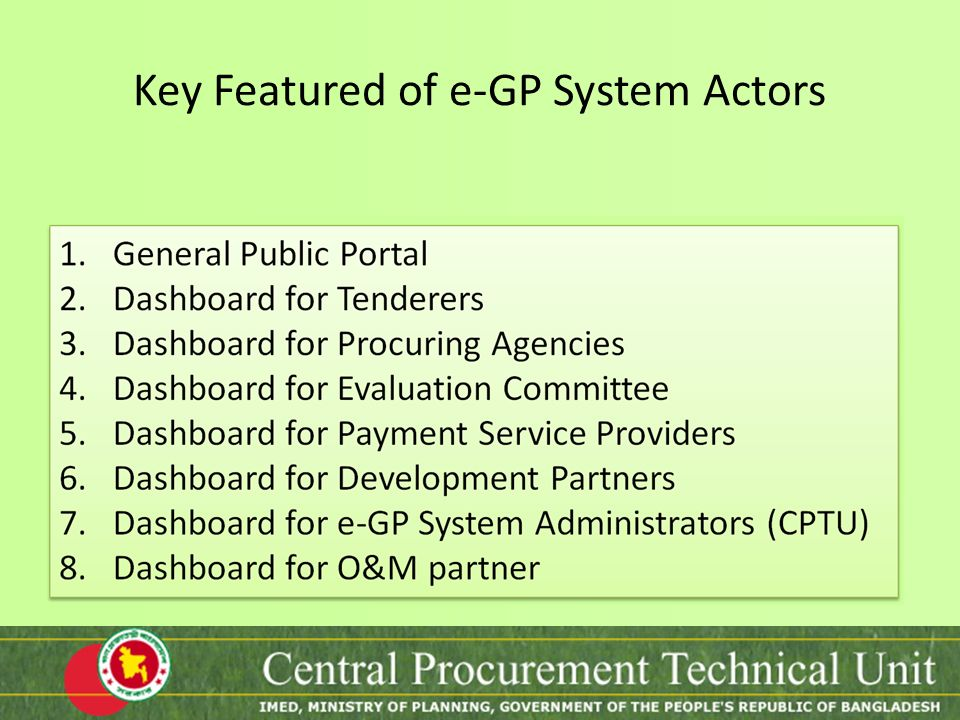Key Featured of e-GP System Actors