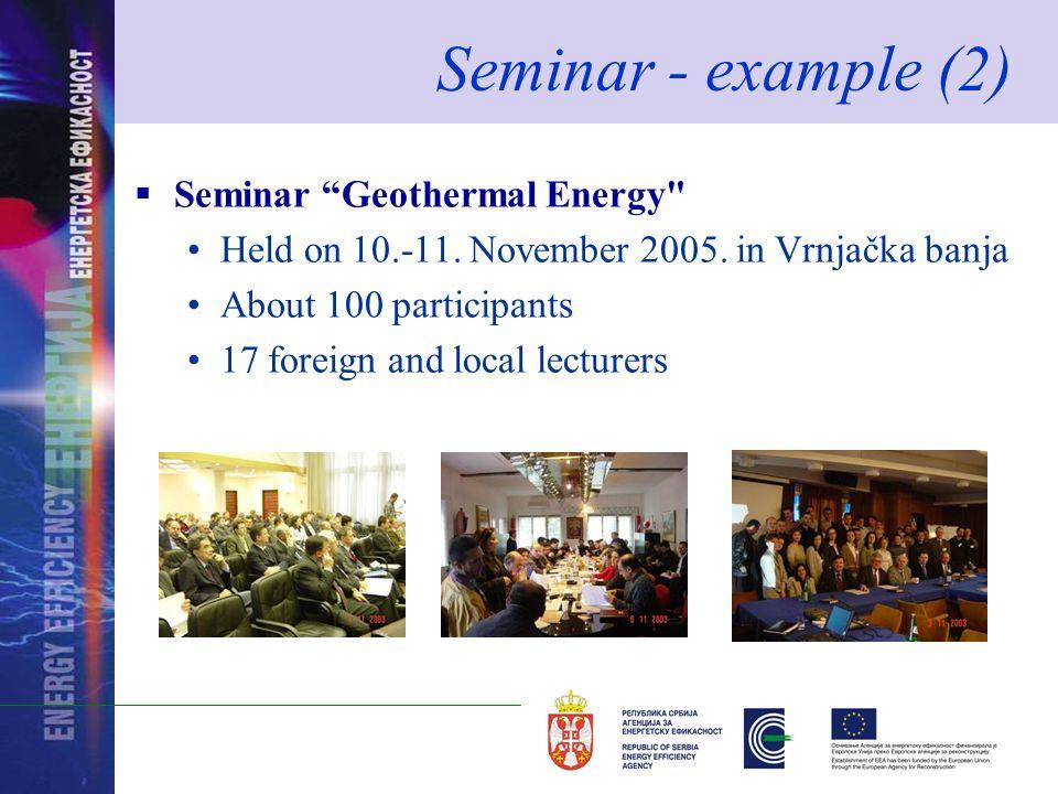 Seminar - example (2) Seminar Geothermal Energy Held on 10.-11.