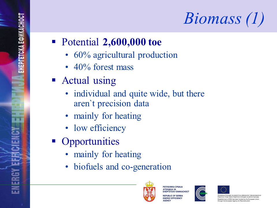 Potential 2,600,000 toe 60% agricultural production 40% forest mass Actual using individual and quite wide, but there aren`t precision data mainly for heating low efficiency Opportunities mainly for heating biofuels and co-generation Biomass (1)